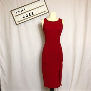 Red soprano side slit pencil midi dress XS